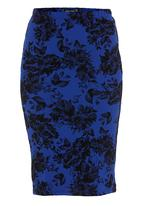 c(inch) - Ponti pencil skirt Black/Blue