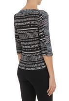 adam&eve; - Print-blocked long-sleeve top  Black/White