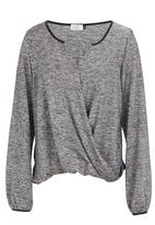 edit - Cross-over pleather trim top dark Grey