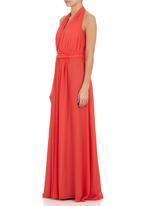 RUFF TUNG - Poppy halterneck gown Coral