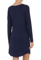edge - Long-sleeve nightie with loop button binding Navy
