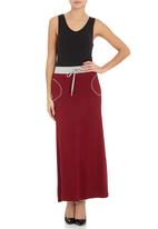 edge - Contrast maxi skirt Red
