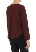 edit - Cross-over pleather trim top Red