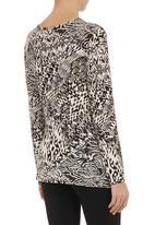 edit - Aztec-print cowl-neck top Black