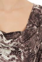 edit - Snakeskin cowl-neck top Stone/Beige