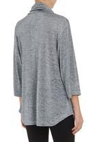 edit - Kimono cowl-neck blouse Blue/Grey