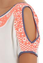 SASS - Frieda embroidery top White
