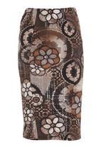 Pringle of Scotland - Crochet pencil skirt  Brown (mid brown)