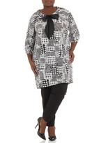 Megalo - Printed tunic dress Black/White