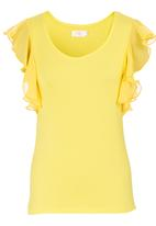 edit - Flutter-sleeved T-shirt Yellow