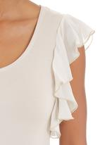 edit - Flutter-sleeved T-shirt Stone/Beige