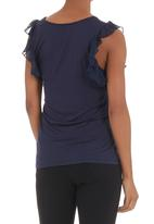 edit - Flutter-sleeved T-shirt Dark Blue