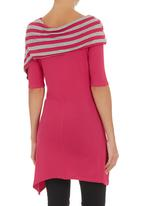 FRIENDS - Top with shawl neckline Mid Pink