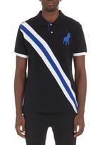 POLO - Diagonal stripe polo shirt Black