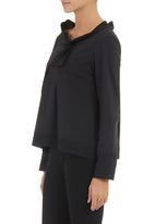 Ilan - Blouse with bow and pleat detail  Black