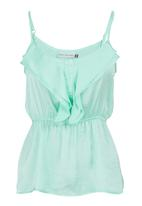 edit - Strappy cami with frill Green