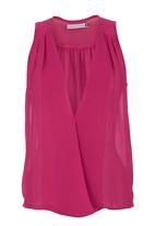 edit - Chiffon v-neck top Pink (dark pink)