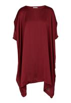 edit - Satin tunic with mesh inset Red