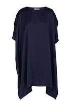 edit - Satin tunic with mesh inset Mid Blue
