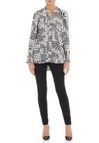 Slick - Zan mandarin shirt Black/White