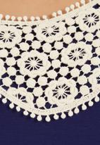 Coppelia - Top with crochet inset Navy