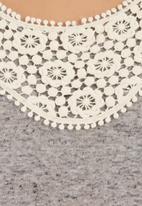 Coppelia - Top with crochet inset Grey