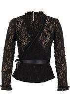 Paige Smith - Lace wrap top Black