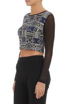 STYLE REPUBLIC - Printed crop top with mesh sleeves Multi-colour