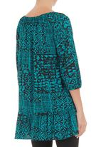 STYLE REPUBLIC - Paisley-printed drop waist tunic Mid Blue