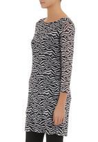 edit - Mesh tunic with zebra print Black/White