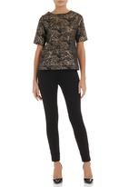 Amanda May - Brocade boxy top Metallic