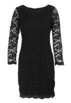 edit - Lace dress with scalloped edge Black