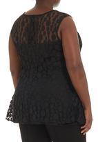 STYLE REPUBLIC - Lace peplum blouse Black