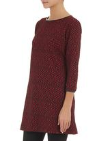 edit - Graphic-print tunic with pleather trim   Red