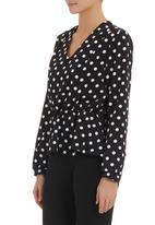 adam&eve; - Soft-waisted printed blouse Black/White