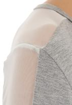 Slick - Mesh-inset top Grey