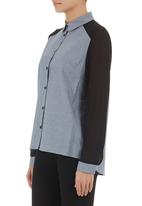 Traffic - Denim blouse with chiffon sleeves Multi-colour