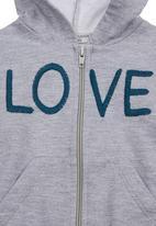 Sticky Fudge - Zip-up hoodie with love print Grey