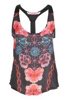 Smash - Twisted Back Abstract Top  Multi-colour