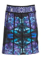 Smash - Blue Floral Panelled Skirt Multi-colour