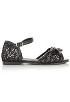 Foot Focus - Lace Ankle-strap Sandal Black