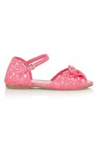 Foot Focus - Lace Ankle-strap Sandal Pink