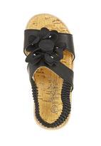 Foot Focus - Big Flower Sandals Black