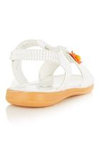Foot Focus - Strapped Floral Sandals  White