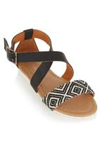 Candy - Sandals with Woven Geo Design Black
