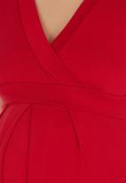 Cherry Melon - Fran Wrap Top Short Sleeve - Dark Red Dark Red