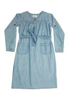 Confetti - denim dress with buttons Mid Blue