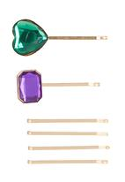 FUNKY FISH - Girls Hair Clips with Jewels Multi-colour