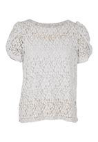 adam&eve; - Dakota Lace Top With Tulip Sleeves Grey