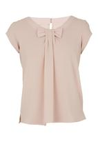 edit - Blouse With Bow Stone/Beige